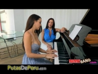 teacher piano her with action threesome harper Dillion